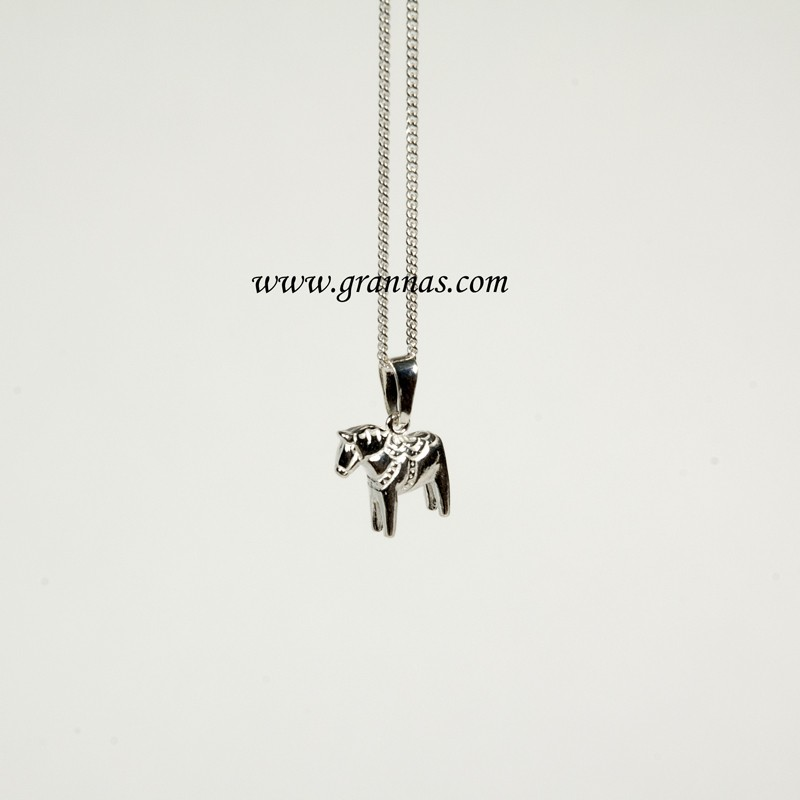dalahäst halsband silver