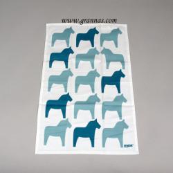 Handduk Vit/Blå hästar