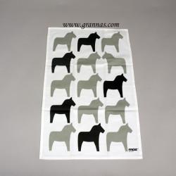 Handduk Vit/Grå hästar